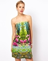 ASOS 7c ASOS Bandeau Dress In Summer Forest Print at ASOS