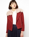 Antipodium Antipodium Woody Biker Jacket With Shearling Collar At Asos