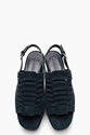 Jil Sander Midnight Blue Suede Slingback Woven Wedge Sandals for women 7c SSENSE
