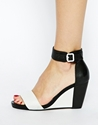 Dune Dune Gwens Black White Mid Wedge Sandals At Asos