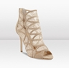 Jimmy Choo 7c Fauna 7c Nude Suede and Lace Peep Toe Booties 7c JIMMYCHOO COM