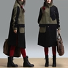 Hit Color Stitching Casual Temperament Woolen Coat By Dreamyil