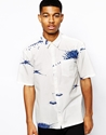 Asos Black Asos Printed Short Sleeve Shirt At Asos