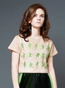 Tan Cotton Cropped T Shirt With Green Lizard By Toysyndrome