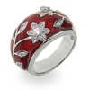 Amazon.Com Ruby Red Enamel Ring With Vintage Cz Flower Design Eve's Addiction Jewelry