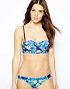 Asos Watercolour Floral Longline Bikini At Asos