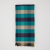 Slowdownjoe Lovat Mill Lambswool Blanket Navy And Turqoise Check