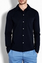 A P C 7c Navy Cotton Jersey Shirt by A P C
