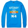 Stussy No.4 Fade Crew Sweat Bright Blue
