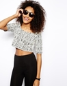 Monki Mono Jacquard Crop Top