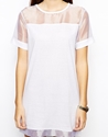 Daisy Street Daisy Street T Shirt Dress With Sheer Insert At Asos