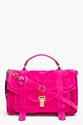 Proenza Schouler Ps1 Medium Pink Suede Satchel for Women 7c SSENSE