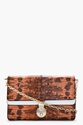 Kenzo Mottled Orange Reptile Leather Convertible Clutch for women 7c SSENSE