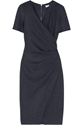 Helmut Lang Pleated Wrap Effect Wool Dress Net A Porter.Com