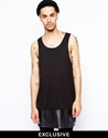 Reclaimed Vintage Reclaimed Vintage Super Longline Vest With Pu Hem At Asos