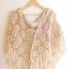 Spring Crochet Beige Floral Shawl Crochet Women By Senoaccessory