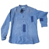 Distressed 26 stonewashed style linen shirt YVES SAINT LAURENT Blue size 48 IT in Linen All seasons 624280