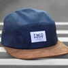 Navy Wax Suede 5 Panel Cap Hat