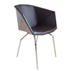 Glossy Bucket Chair with Leather Upholstery Office 2b Storage