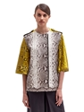 Lanvin Women's Contrast Panel Python Leather Jacket Ln Cc