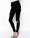 Asos Asos Ridley High Waist Ultra Skinny Jeans In Clean Black With Busted Knees At Asos