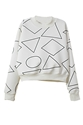 Romwe Geometric Pattern Print White Sweatshirt The Latest Street Fashion