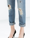 Jewelled Boyfriend Jeans Cream Beads Woman Collection Aw14 Zara Netherlands