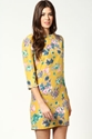 Mia Flower Print Pearl Neck and Cuff Shift Dress at boohoo com