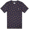 Fred Perry X Drake's Paisley All Over Print Tee Carbon Blue