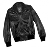 Ladies black leather bomber