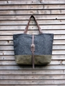 Wool tote bag with waxed leather handles and by treesizeverse