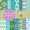 Aqua Instant Download Digital Papers By ... Surface Pattern Designs