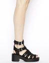 River Island River Island Black Chunky Low Heeled Gladiator Sandals At Asos
