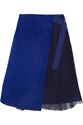 Sacai Wool Felt And Pleated Chiffon Wrap Skirt Net A Porter.Com