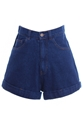Romwe Rolled Cuffs Dark Blue Denim Shorts The Latest Street Fashion