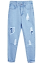 Blue Ripped Pockets Denim Pant Sheinside.Com