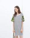 Striped Dress With Printed Sleeve Trf Dresses Woman Zara United Kingdom