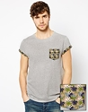 Asos Asos T Shirt With Contrast Printed Pocket And Rolled Sleeve At Asos