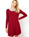 Asos Asos Swing Dress With Crochet Collar And Long Sleeves At Asos