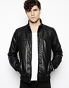 New Look New Look Bomber Jacket In Faux Leather At Asos