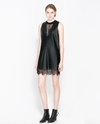 Faux Leather Dress With Lace Dresses Woman Zara United Kingdom