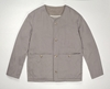 Taupe grey cotton cord collarless overshirt e2 80 94 S E H Kelly e2 80 94 Clothes made in England and the British Isles