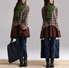 Brown Plaid Patchwork Fake Two Shirt Cotton Plaid By Dreamyil