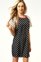 Chrissie Contrast Colour Sleeve Spot Shift Dress at boohoo com