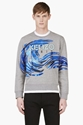 Kenzo Heather Grey Wave Graphic Sweater For Men Ssense