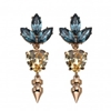 Small crystal heart earrings with leaf and spike Pretty in Punk COLLECTIONS SHOP