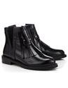 Black Leather Fringe Cut Out Boots Aperlai Avenue32