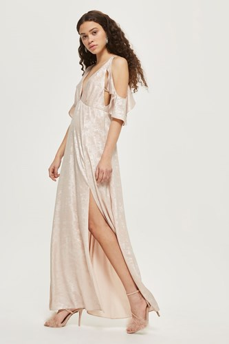 Maxi Shoulder Foil Cold Nude Dress Topshop q61Zwgn