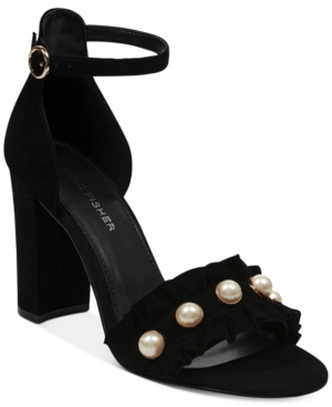 Black Suede Pearl Two Marc Women's Sandals Piece Shoes King Fisher Ruffle vaxUPz