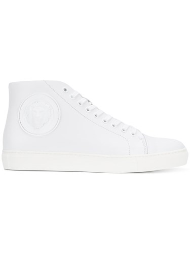 Versus Hi Patch Logo Rubber Leather Tops White EprEcTqy